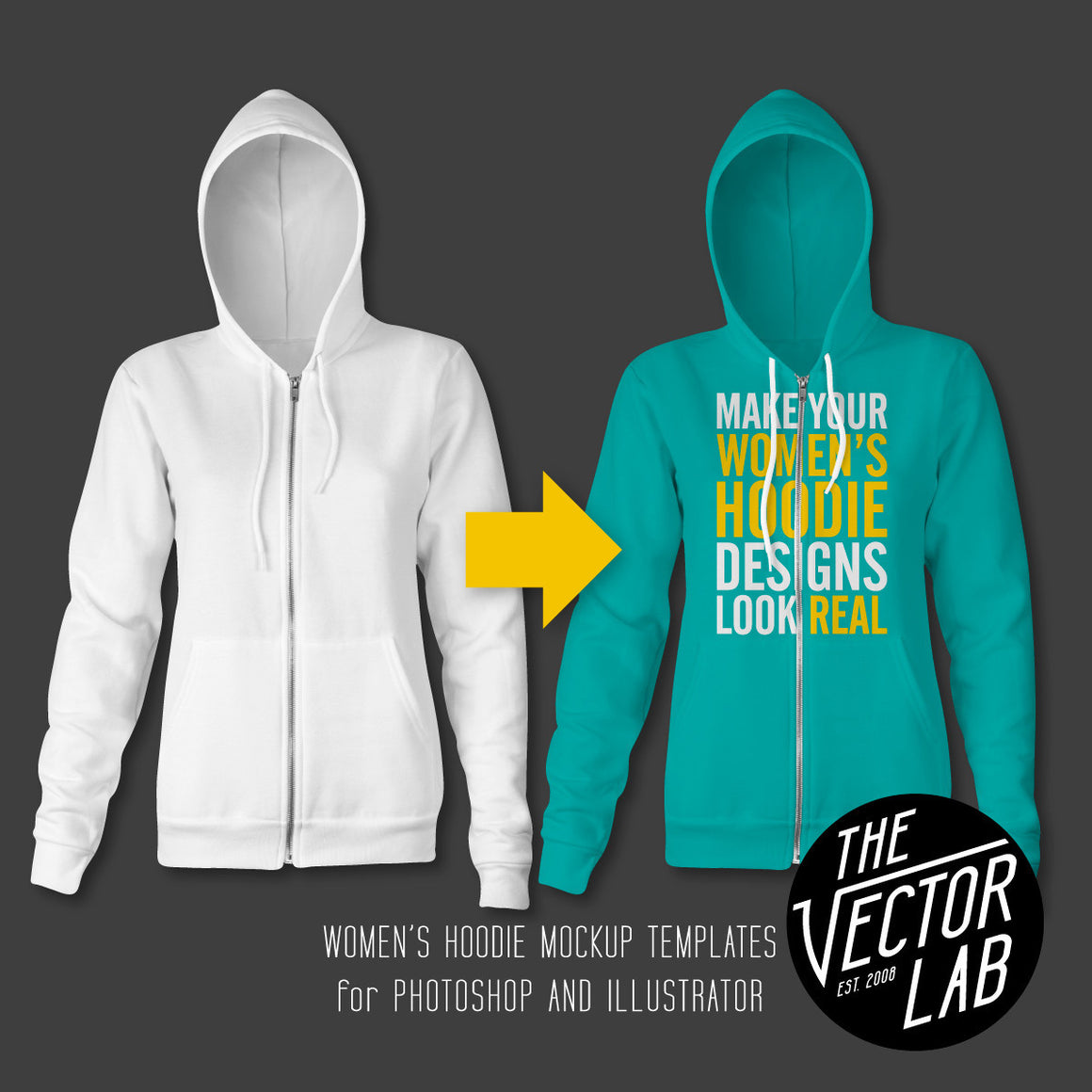 Women's Hoodie Sweatshirt Mockup Templates for Photoshop and Illustrator
