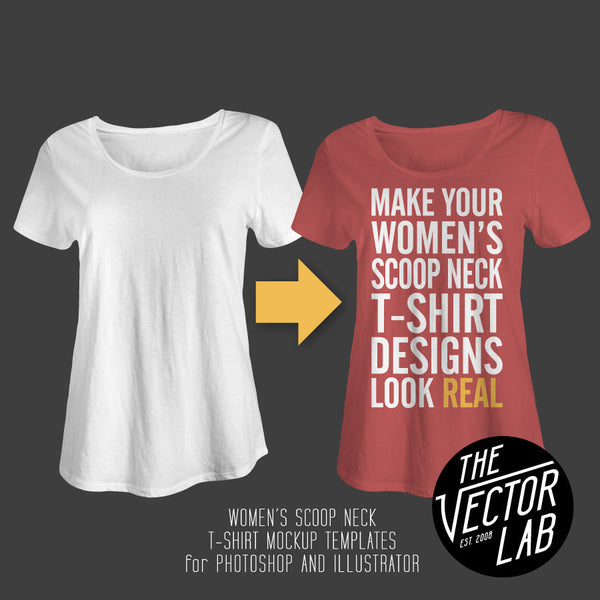 Women's Scoop Neck T-Shirt Mockup Templates for Photoshop and Illustrator