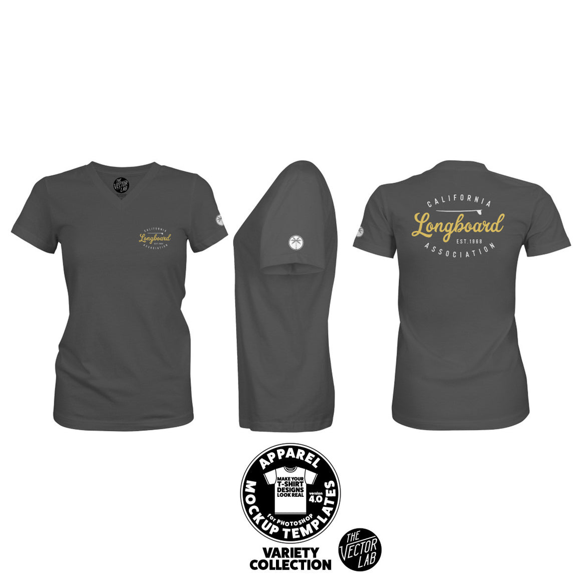 Women's V-Neck T-Shirt Mockup Templates for Photoshop