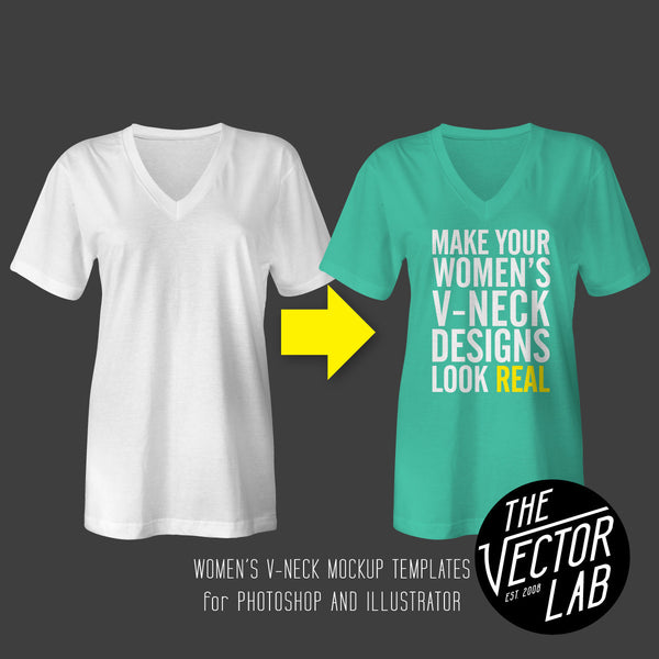 Women's V-Neck Shirt Mockup Templates for Photoshop and Illustrator