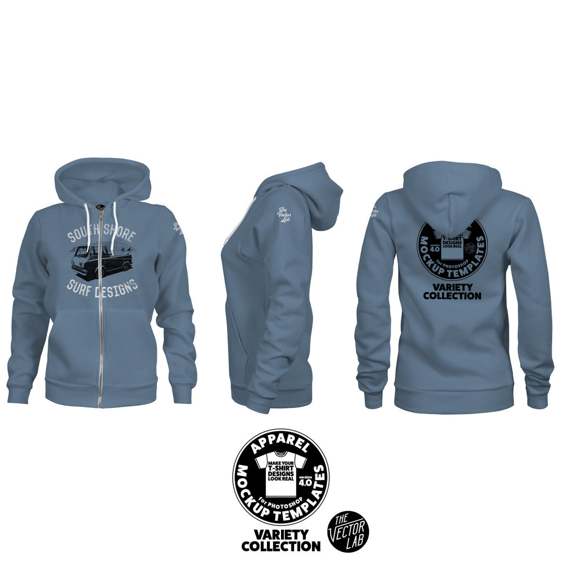 Women's Zipper Hoodie Mockup Templates for Photoshop