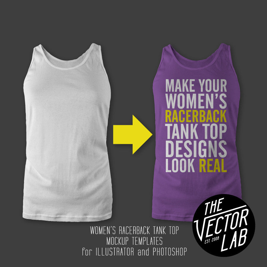 Women's Racerback Tank Top Mockup Templates for Photoshop and Illustrator