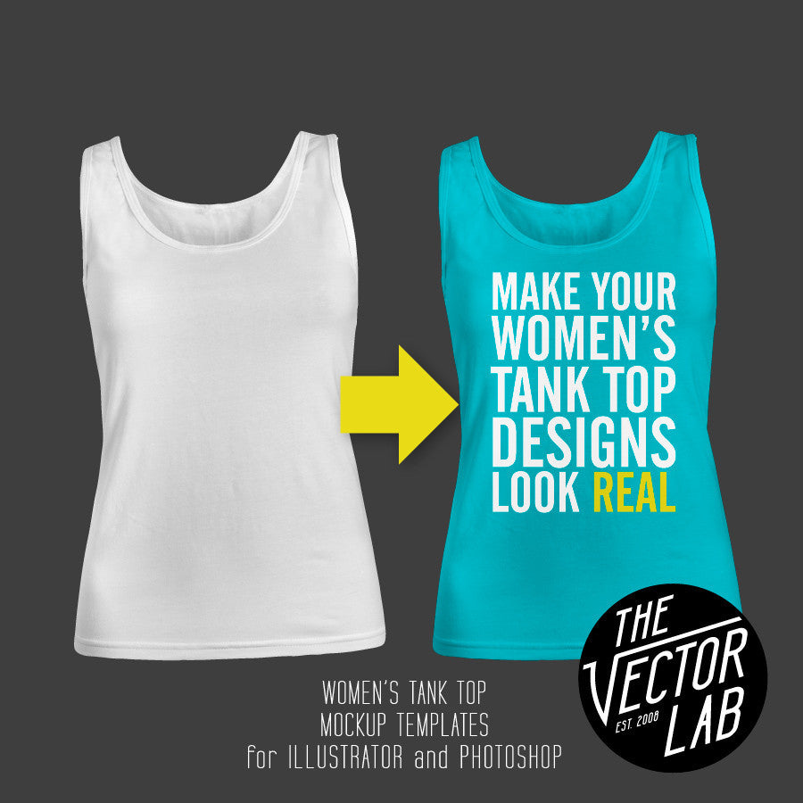 Women's Tank Top Mockup Templates for Photoshop and Illustrator