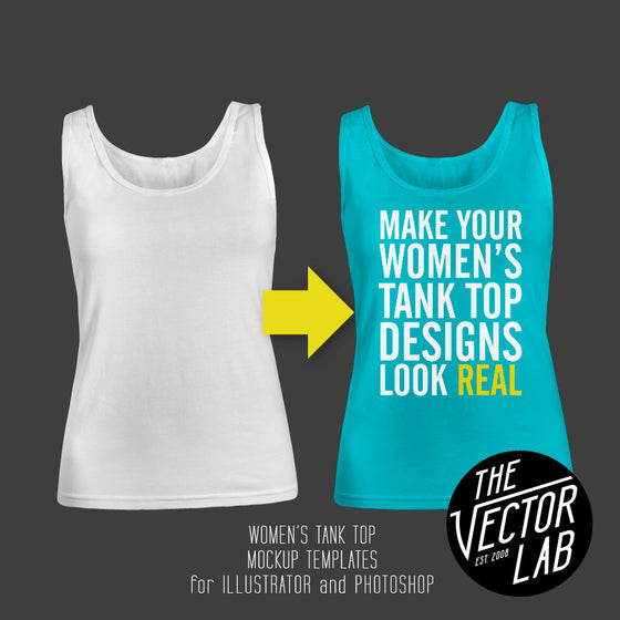 Women's Tank Top Singlet Mockup Templates for Photoshop and Illustrator