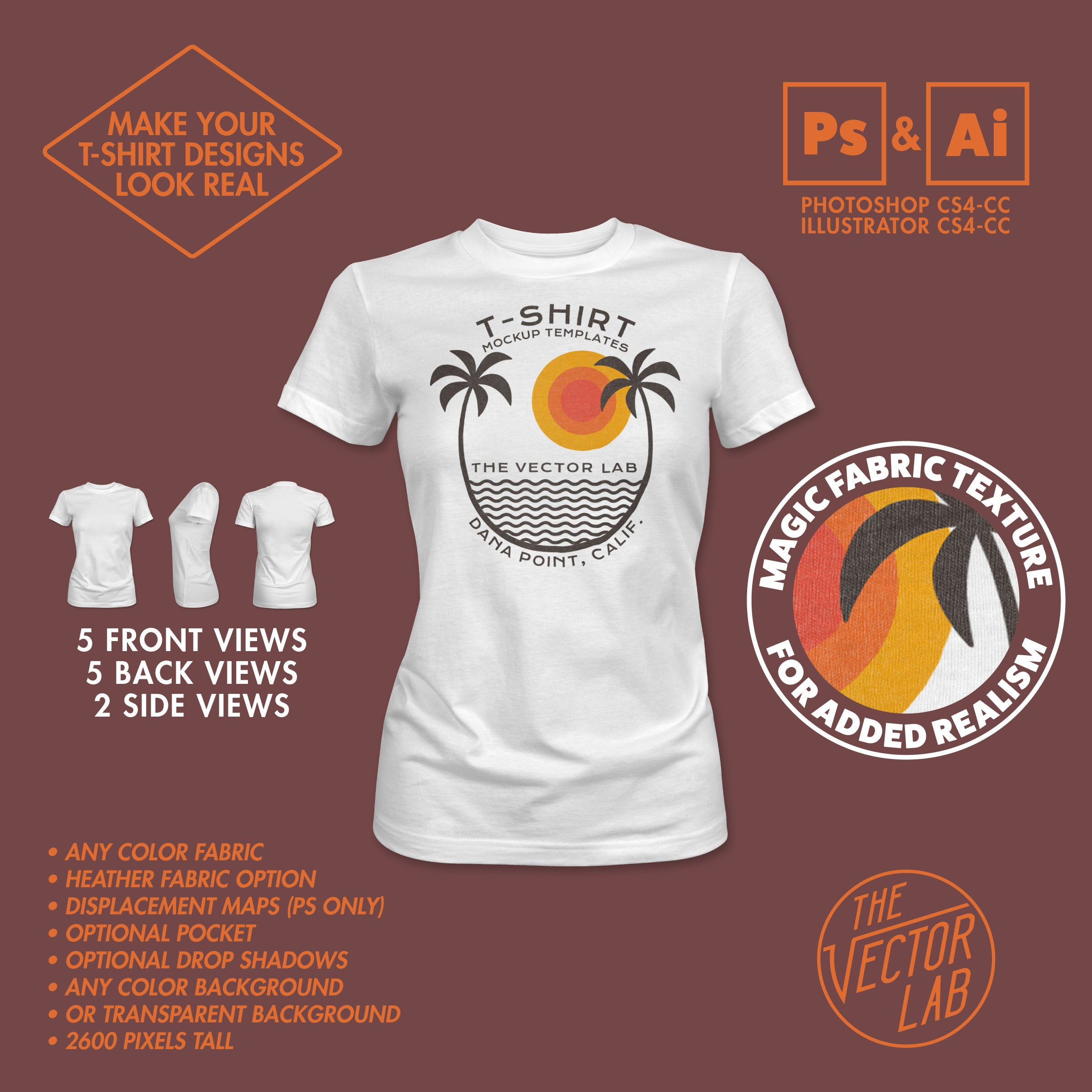 424e68aa ... Women's T-Shirt Mockup Templates for Photoshop and Illustrator ...