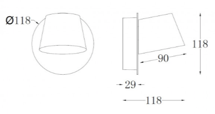 line drawing for zlights coop wall light