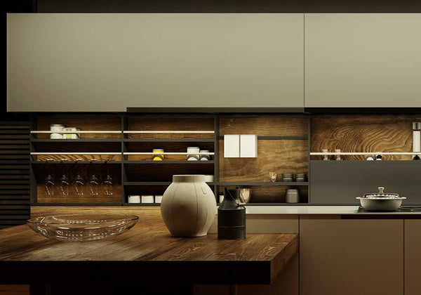 modern kitchen with dimmer switches