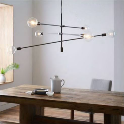 Trapeze 6 Light Pendant in Gold or Black 100cm