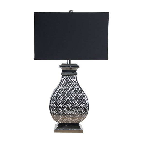 Alta Embossed 68cm Chrome Large Table Lamp