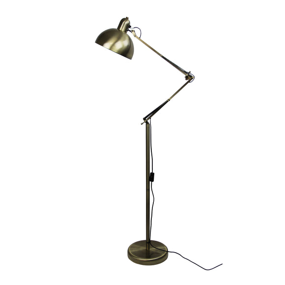 Billy Adjustable 160cm Floor Lamp in Antique Brass or Gun Metal