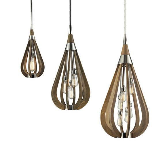 Boni Taupe Wood Pendant in 1, 3 and 6 Light Sizes