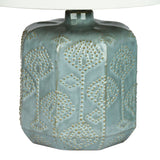 Chima Blue 54cm Embossed Ceramic Lamp with Harp Shade