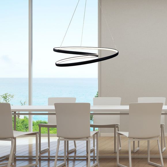 Endless Modern 80cm LED Pendant in Black or White