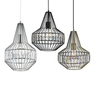Everly Pendant 32cm in Antique Brass, Chrome and Matt Black