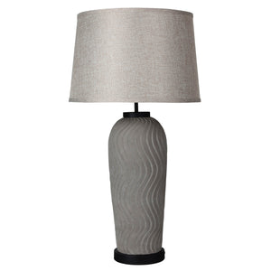 Fargo Ribbed 73cm Concrete-Finish Table Lamp