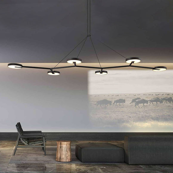 black long 1600mm 160cm linear branching chandelier circular disk lights suited over long dining table or living area