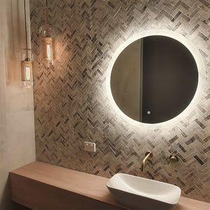 Luxury powder room back lit LED mirror with two glass stark gold pendants hanging over timber vanity bench