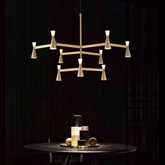 Triumph 9 Arm Modern Contemporary Chandelier in Black or Gold