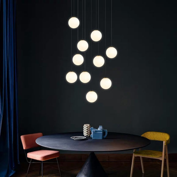 Verre Opale 10 Light Cluster in 10cm, 20cm & 30cm Shade Sizes + Multiple Colours