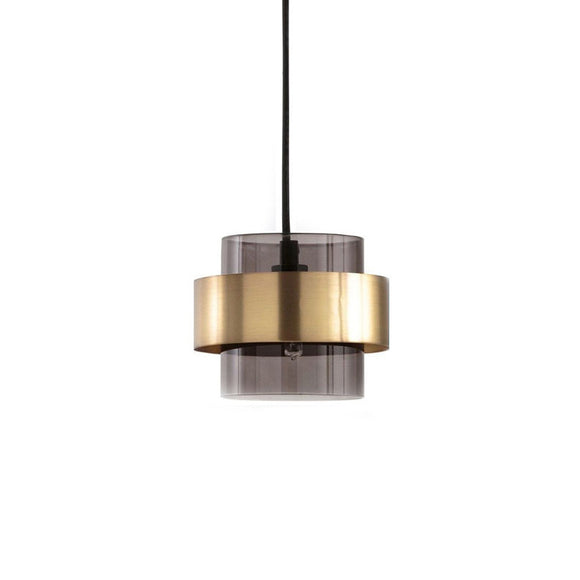 Walter 18cm Gold Modern Pendant with Smoke Glass