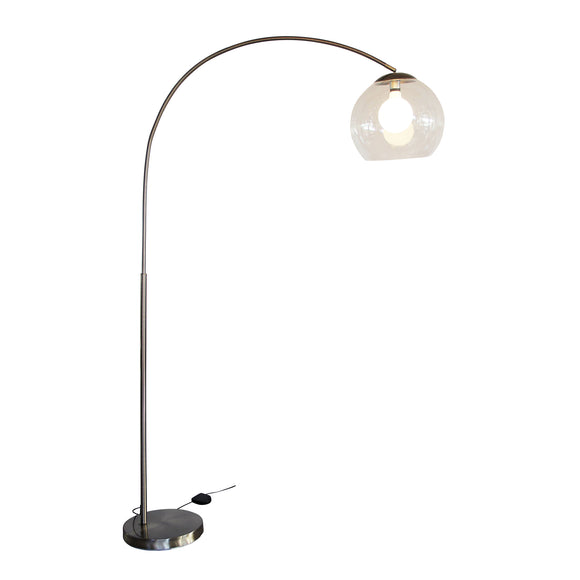 Curve Large 195cm Lamp with Acrylic Shade in Antique Brass or Black