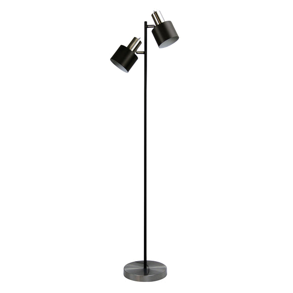 Diaz Twin Mid-Century Floor Lamp 150cm in Brushed Chrome or Copper