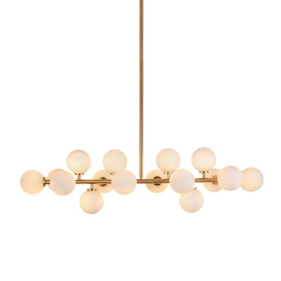 replica mimosa gold brass linear kitchen island pendant light opal glass dimmable DALI