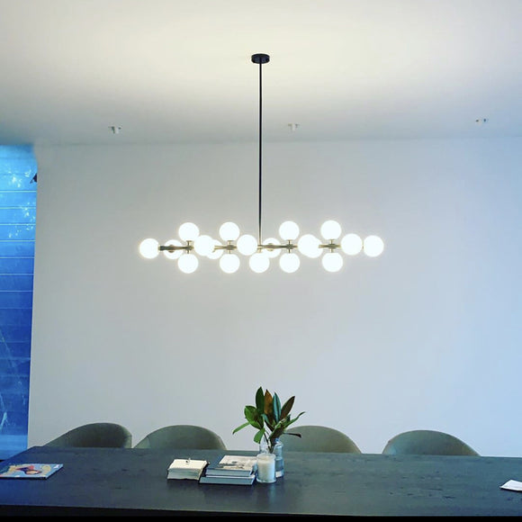 Modern Black dining table feature pendant light replica mimosa 19 light large DALI dimmable