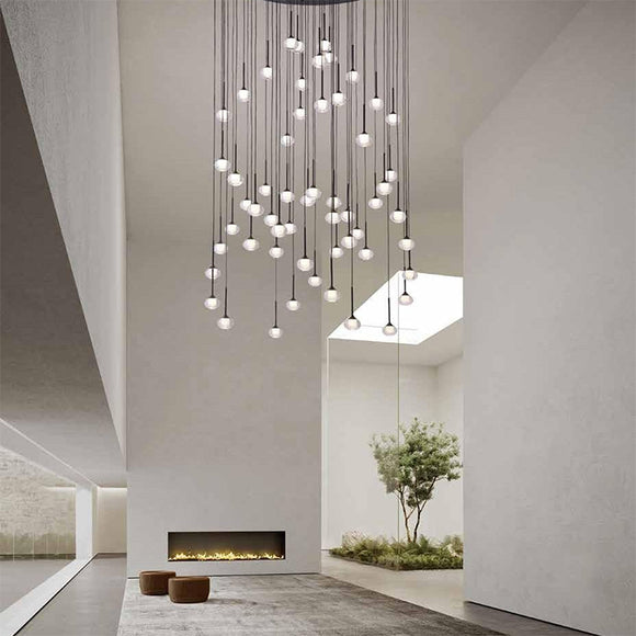 modern luxury interior with high ceilings featuring the raindrop cluster pendant 56 light sydney Australia