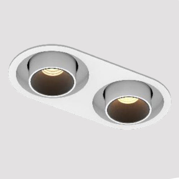recessed LED double downlight in white with adjustable spotlights high cri90 rotatable tilt
