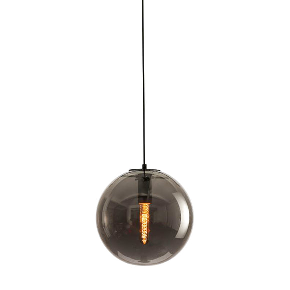 replica smoky selene pendant light in smoke with carbon filament globe