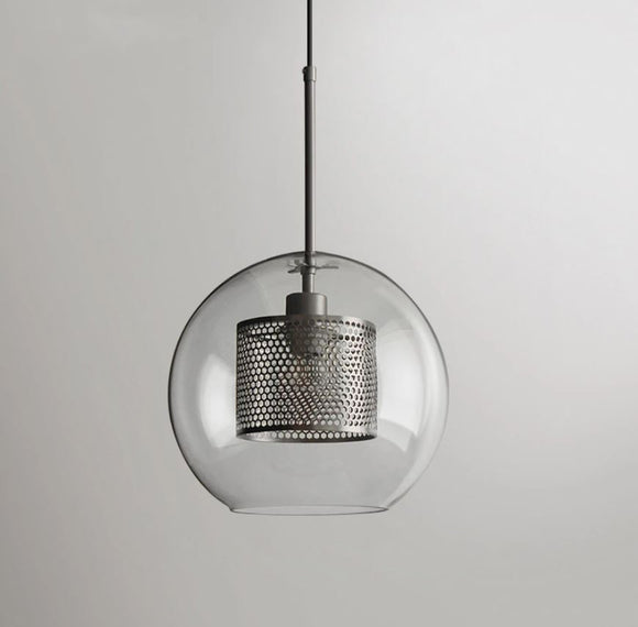 Stark Modern Silver Mesh Glass Pendant in 20cm, 25cm or 30cm