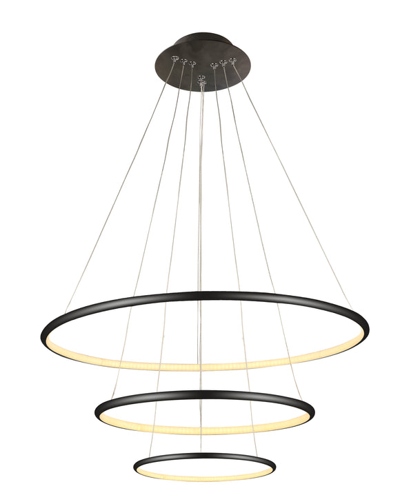 three level ring halo pendant black LED dimmable modern void feature lighting sydney australia