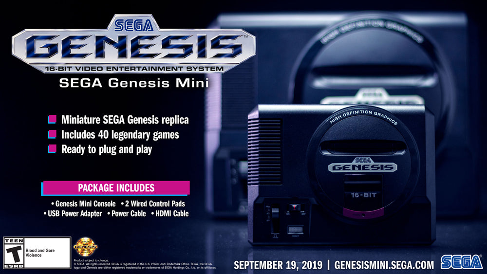 SEGA Genesis Mini Console with 2 Wired Controllers on