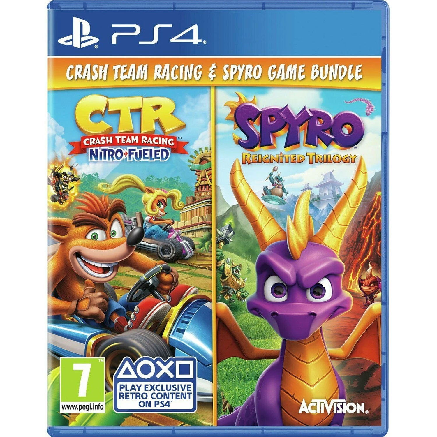 PS4 Crash Team Racing Nitro-Fueled + Spyro Game Bundle