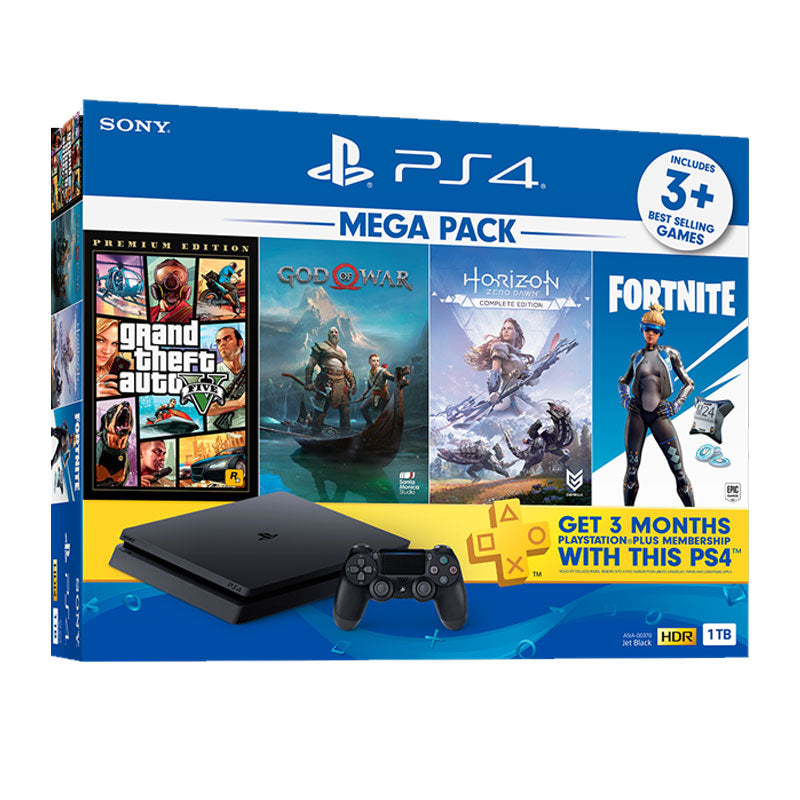 PS4 Slim 1TB Console Mega Pack 2 + 15 Months Sony Warranty