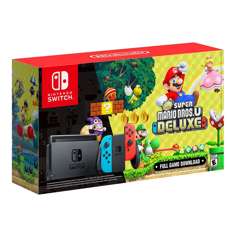 Nintendo Switch Console Gen 1 + New Super Bros. U Deluxe + 1 Year Warranty By Shopitree