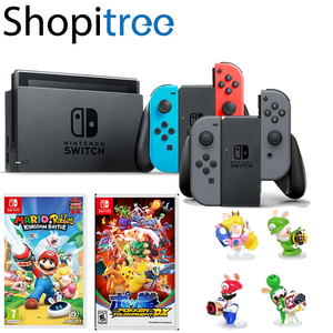 Nintendo Switch Console + Mario & Rabbids Kingdom Battle + Pokken Tournament + 1 Random Figurine + 1 Year Local Warranty