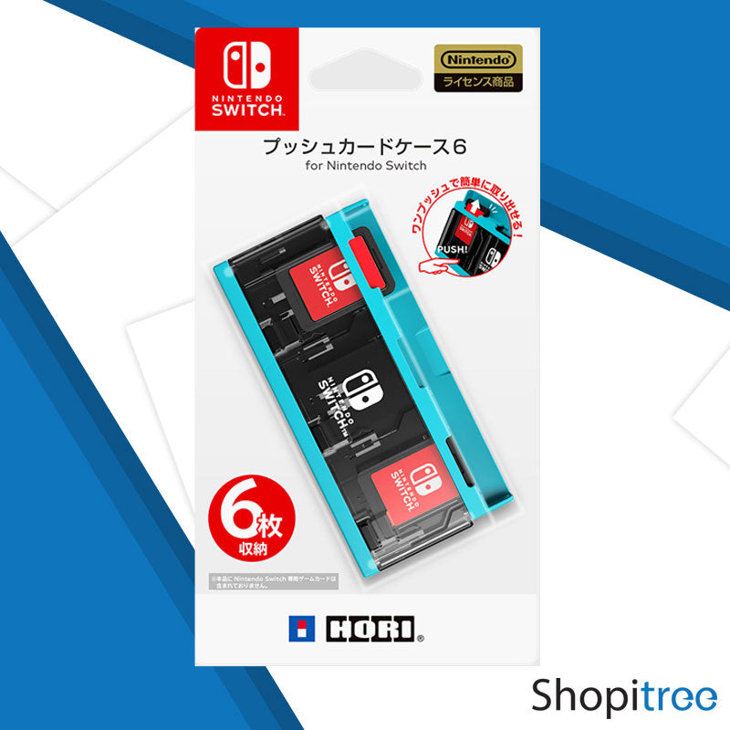 Hori Push Card Case 6 for Nintendo Switch (Neon Blue)