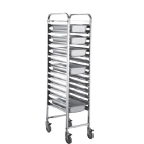 (DISMOUNTABLE) HEIGHTENED SINGLE ROW 1/2 TRAY TROLLEY - SILVER - KITCHENWARE # 003113