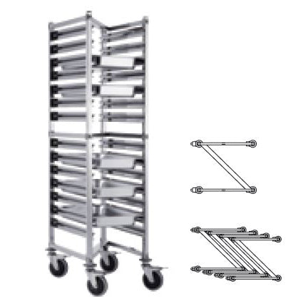 (DISMOUNTABLE) Z SHELF HEIGHTENED 1/1 TRAY TROLLEY - SILVER - KITCHENWARE # 011113