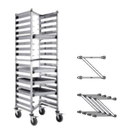 (DISMOUNTABLE) Z SHELF HEIGHTENED CAKE CART 16 TRAYS- SILVER - KITCHENWARE # 114113