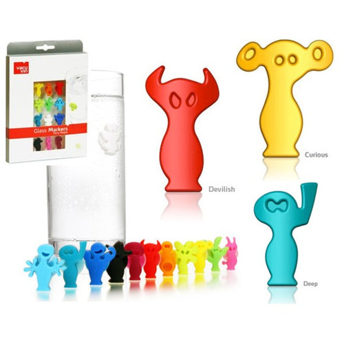 Set of 12 Useful and Practical Glass Markers Silicone,Party People