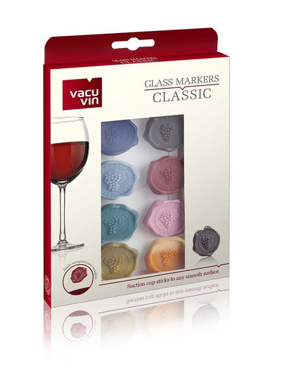Glass Markers Classic Grapes; Gift Box of 8