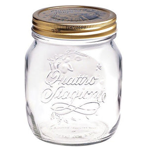 QUATTRO STORAGE JAR WITH GOLD LID - BORMIOLI ROCCO # 3.49760