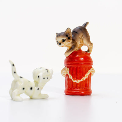 Japanese Vintage Bone China figurines - Puppies and Post