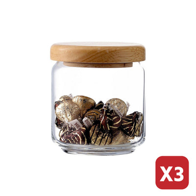 500ML POP JAR WITH WOODEN LID (3 Pieces)