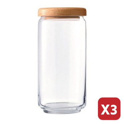 1L POP JAR WITH WOODEN LID (3 Pieces)