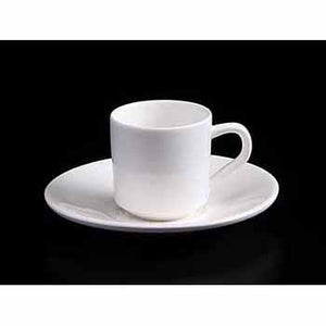 FINE CHINA 3 OZ | 90 ML COFFEE CUP & SAUCER - WHITE - DON BELLINI # DB3030009