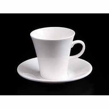 FINE CHINA 5 OZ | 160 ML COFFEE CUP & SAUCER - WHITE - DON BELLINI # DB3033016